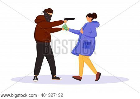 Armed Street Robbery Flat Color Vector Faceless Character. Burglar Threatening Woman With Gun. Thief