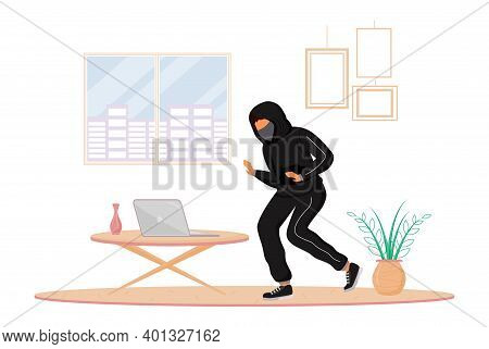House Burglary Flat Color Vector Faceless Character. Robber Stealing Laptop From Apartment. Property