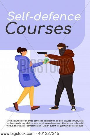 Self- Defence Courses Poster Flat Vector Template. Protection Skills. Armed Attack, Assault. Street