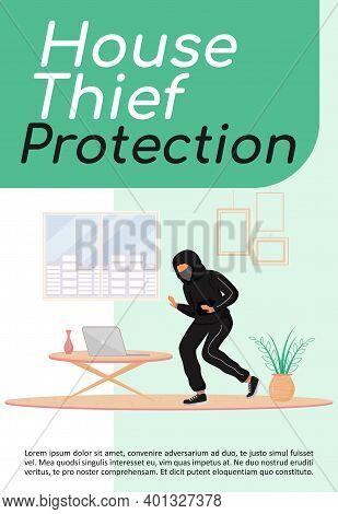 House Thief Protection Poster Flat Vector Template. Precautions. Burglar Stealing Laptop. Housebreak