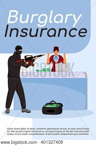 Burglary Insurance Poster Flat Vector Template. Bank Robbery. Armed Attack, Assault. Criminal Act. B