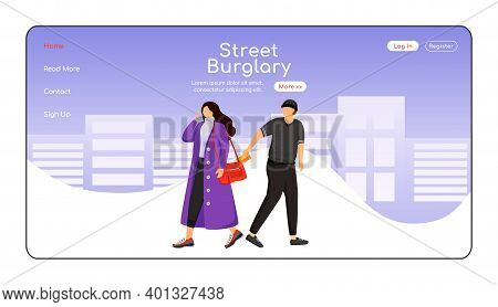 Street Burglary Landing Page Flat Color Vector Template. Thief Stealing Wallet. Pickpocket. Homepage