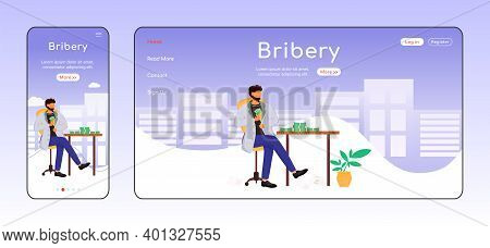Bribery Adaptive Landing Page Flat Color Vector Template. Corruption Mobile And Pc Homepage Layout.