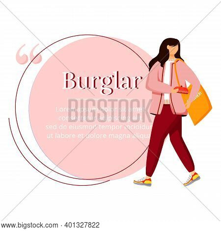 Shoplifting Flat Color Vector Character Quote. Kleptomania. Addictive Behavior. Shop Theft. Woman St
