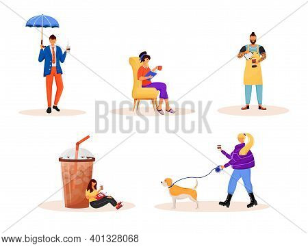 Coffee Culture Flat Color Vector Faceless Characters Set. Caucasian People Resting On Weekend. Drink