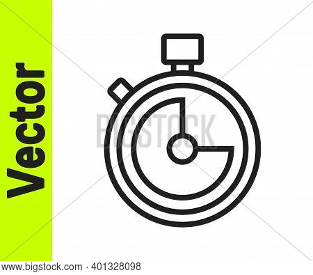 Black Line Stopwatch Icon Isolated On White Background. Time Timer Sign. Chronometer Sign. Vector