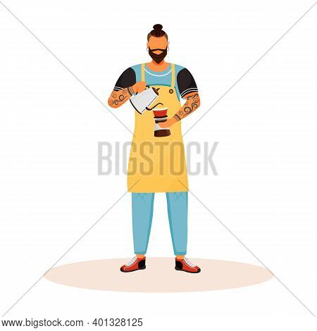 Barista With Beard Flat Color Vector Faceless Character. Man Making Americano. Male Cafe Worker Prep