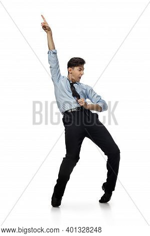 Icon. Happy Young Man Dancing In Casual Clothes Or Suit, Remaking Legendary Moves And Dances Of Cele