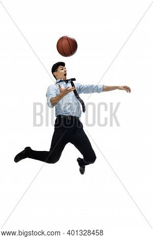 Basketball. Happy Young Man Dancing In Casual Clothes Or Suit, Remaking Legendary Moves And Dances O