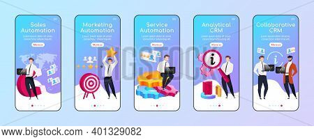 Crm Types And Advantages Onboarding Mobile App Screen Flat Vector Template. Sales Automation. Walkth