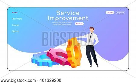Service Improvement Landing Page Flat Color Vector Template. Man Reclining To Cogwheel Homepage Layo