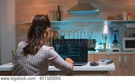 Woman Remote Thief Stealing Data From Company Hacking System From Home. Programmer Writing A Dangero