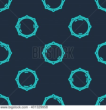 Green Line Dial Knob Level Technology Settings Icon Isolated Seamless Pattern On Blue Background. Vo
