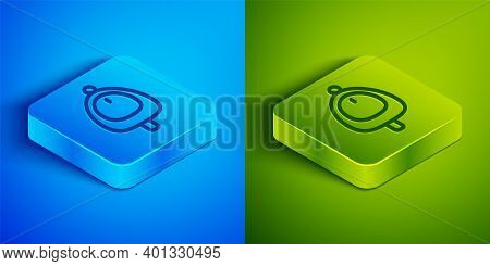 Isometric Line Toilet Urinal Or Pissoir Icon Isolated On Blue And Green Background. Urinal In Male T