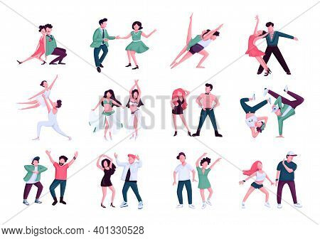 Partner Dance Flat Color Vector Faceless Characters Set. Tango, Rumba, Contemp Male And Female Perfo