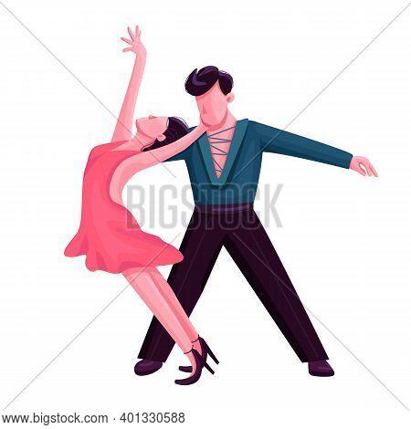 Latino Ballroom Dance Flat Color Vector Faceless Character. Passionate Rumba Performers. Salsa, Arge