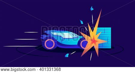 Car Wreck Flat Color Vector Illustration. Automobile Smashing Against Wall On Blue Background. Trans