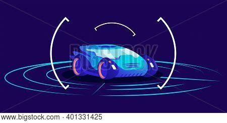 Driverless Car Flat Color Vector Illustration. Futuristic Autonomous Transport, Self Driving Automob