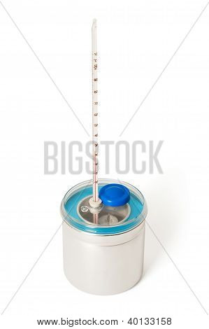 Laboratory Calorimeter and Thermometer. On white background poster