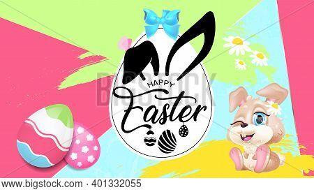 Happy Easter Greeting Card Flat Vector Template. Pascha Banner Design With Bunny Kawaii Cartoon Char