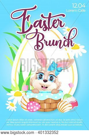 Easter Brunch Poster Flat Vector Template. Pascha Celebration. Brochure, Booklet One Page Concept De
