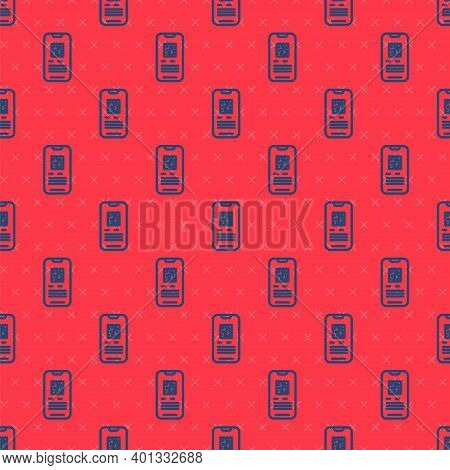 Blue Line Online Ticket Booking And Buying App Interface Icon Isolated Seamless Pattern On Red Backg