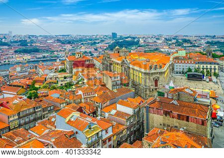 Aerial Panoramic View Of Porto Oporto City Historical Centre With Red Tiled Roof Typical Buildings,