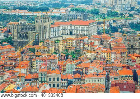 Aerial View Of Porto Oporto City Historical Centre With Red Tiled Roof Typical Buildings Houses, Por
