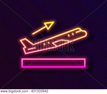Glowing Neon Line Plane Takeoff Icon Isolated On Black Background. Airplane Transport Symbol. Vector
