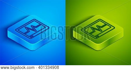 Isometric Line Computer Monitor With Cardiogram Icon Isolated On Blue And Green Background. Monitori