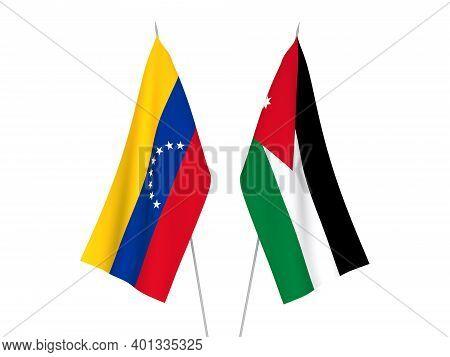 National Fabric Flags Of Hashemite Kingdom Of Jordan And Venezuela Isolated On White Background. 3d