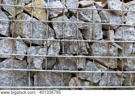 Gabion Wall. Stone Wall With  Wire Mesh.