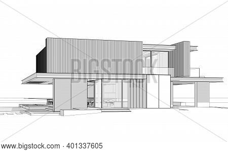 3D Rendering Of Modern House With Wood Plank Facade Black Line On White Background