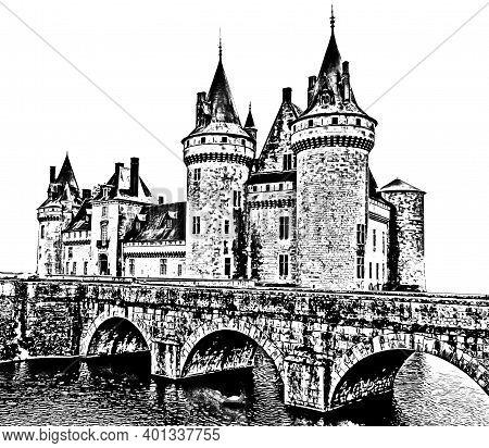 Old Medieval Castle (сhateau) De Sully Sur Loire. Loire Valley, France. Black White Sketch. Pencil S