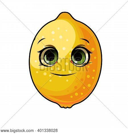 Lemon Fruits. Face. The Isolated Object On A White Background. Ripe. Cartoon Flat Style. Illustratio