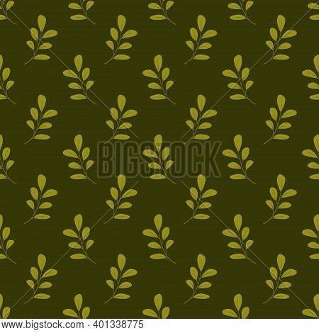 Vector Seamless Pattern With Foliate Twigs; For Wrapping Paper, Packaging, Etc.