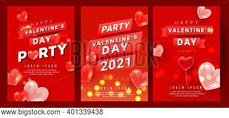 Romantic Banners Set With Red Pink Air Heart Ballons Fly In The Air With Party Text And Ribbon On Re
