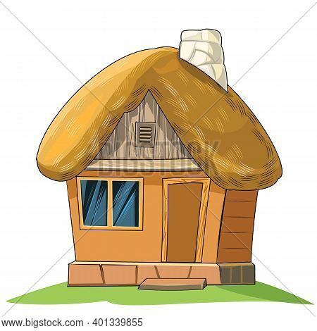 An Old House With A Thatched Roof. Fabulous Cartoon Object. Cute Childish Style. An Ancient Dwelling