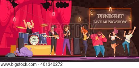 Rock Band Performing On Stage And People Dancing At Live Music Show Cartoon Vector Illustration