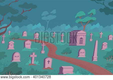 Cemetery Flat Composition With Outdoor Night Landscape And Stone Graves On Ground With Grass And Tre