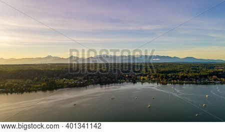 Aerial View Of Poulsbo, Washington And The Surrounding Areas In December Of 2020