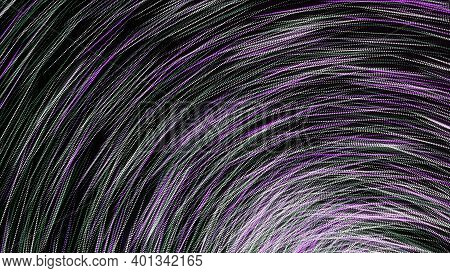 Lines Curl Into Tunnel. Animation. Strokes Are Woven Into Swirling Tunnel On Black Background. Dizzy