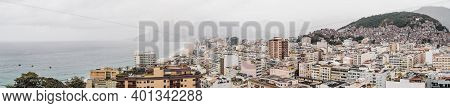 Drone Panoramic View From The High Above Of A Morning Overcast Hilly Cityscape Of The Copacabana Dis