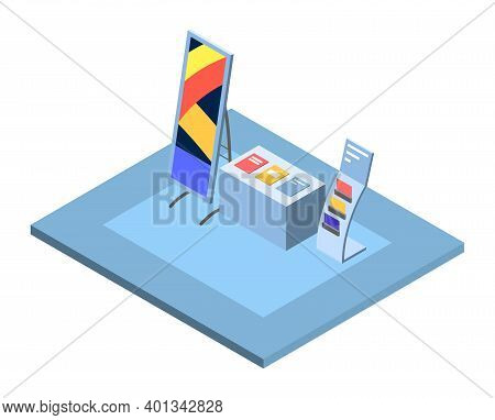 Trade Showroom Interior Isometric Vector Illustration. Promotional Stand And Banner, Tradeshow, Comm