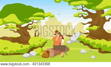 Couple Of Tourist Flat Vector Illustration. Woman And Man Sitting On Log In Forest. Hikers Observing
