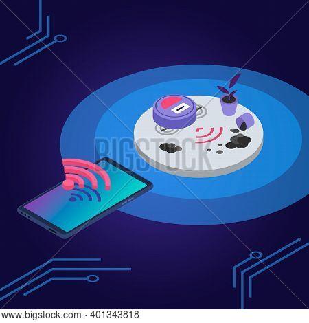 Robotic Vacuum Cleaner Remote Control Isometric Color Vector Illustration. Autonomous Household Equi