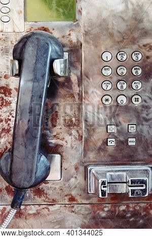 Close Up Image Of Old Public Payphone