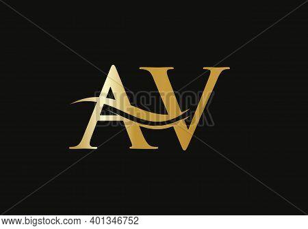 Initial Av Letter Linked Logo Vector Template. Swoosh Letter Av Logo Design. A V Logo Design With Mo