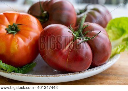 New Harvest Of Big Raddish-purple Heirloom Tomatoes Black Crimea  Close Up
