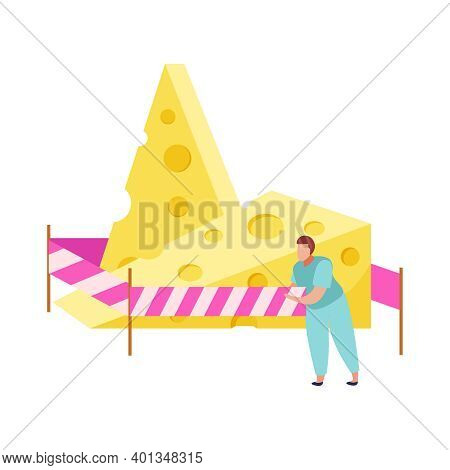 Lactose Gluten Intolerance Diet Composition With Cheese Behind Barrier Lines With Doodle Character V